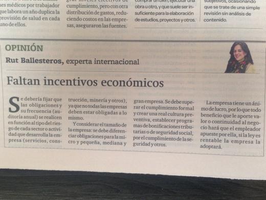 Entrevista a MG-CAVALA sobre cambios a la Ley de Salud y Seguridad en el Trabajo del Perú (Gestión pág 20, 16 jun 2014)